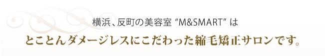"""横浜、反町の美容室""""M&SMART""""はとことんダメージレスにこだわった縮毛矯正サロンです。"""